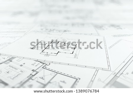 Architectural construction drawings, construction projects on paper. The concept of architecture, construction, engineering. Copy space.