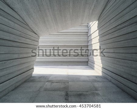 Architectural design concrete corridor with abstract geometry, 3D illustration. #453704581