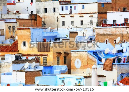 Architectural detail in Chefchaouen, Morocco - stock photo