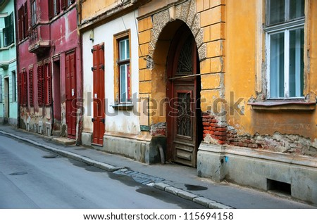 Architectural detail in old city of Sibiu, Transylvania, Europe