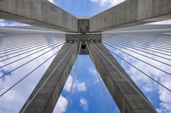 Architectural detail of a cable bridge, between Rio and Antirrio, Greece