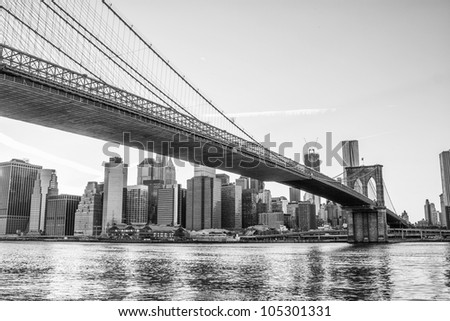 Architectural Detail of Brooklyn Bridge in New York City, U.S.A. #105301331