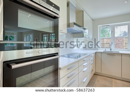 Architectural detail of chic modern kitchen with oven in the foreground