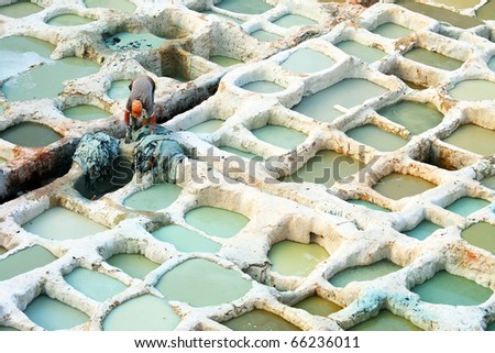 Architectural detail of  Fes Tanneries, Morocco, Africa - stock photo