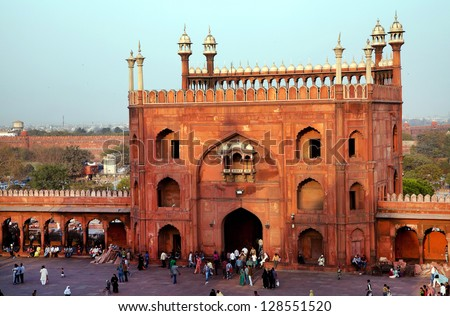 Architectural detail of Jama Masjid Mosque Old Delhi India