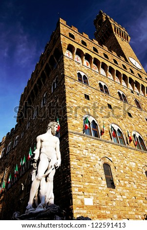 Architectural detail of Palazzo Vecchio, Florence, Tuscany, Italy