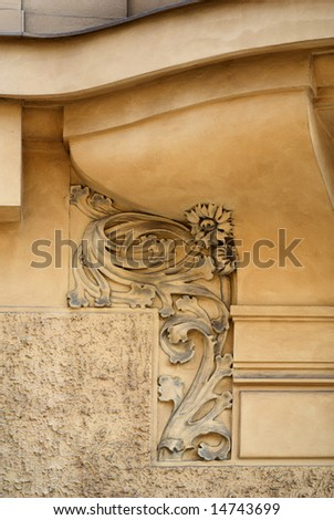 Architectural detail of the building in style of the art-nouveau.
