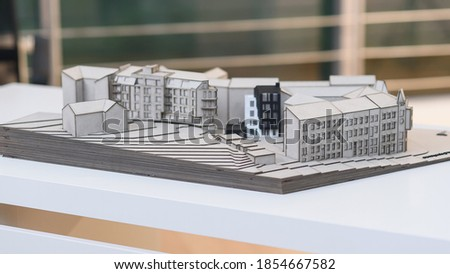 Architectural detailed layout of the future residential quarter. Photo stock ©