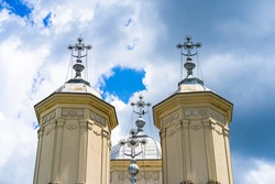 Architectural details, beautiful view of an orthodox church monastery near Bucharest, Romania, 2021