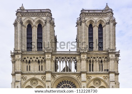 Architectural details of Cathedral Notre Dame de Paris. Cathedral Notre Dame de Paris � most famous Gothic, Roman Catholic cathedral (1163-1345) on the eastern half of the Cite Island. France, Europe.