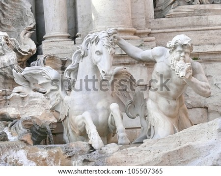 Architectural details of Fontana di Trevi. Rome. Italy. More of this motif and more Rome in my port. - stock photo