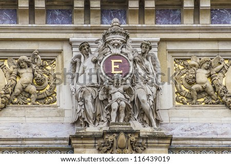 Architectural details of Opera National de Paris. Grand Opera (Garnier Palace) is famous neo-baroque building in Paris, France - UNESCO World Heritage Site.