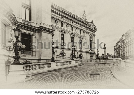 Architectural details of Opera National de Paris. Grand Opera (Garnier Palace) is famous neo-baroque building in Paris, France - UNESCO World Heritage Site. Antique vintage.