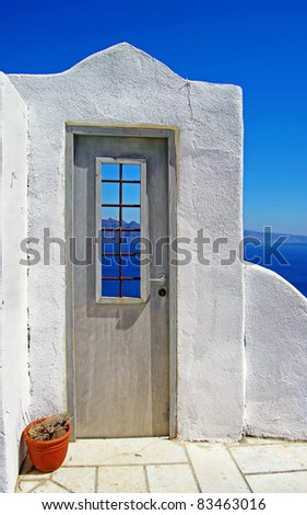 architectural details of Santorini - traditional cycladic style