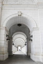 Architectural details of Union Station in Washington DC, United States