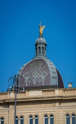 Architectural dome on the roof of an historic building in Zagreb, Croatia