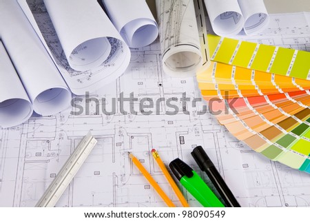 Architectural drawing, colors sample, office stuff