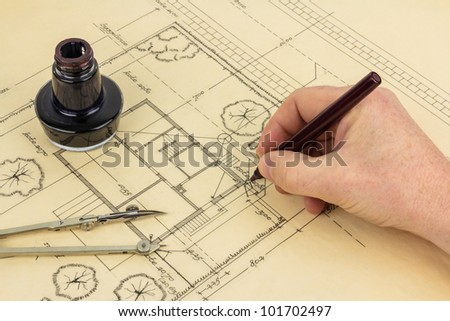 Architectural Drawing In An Old Fashioned Way Stock Photo 101702497 : Shutterstock