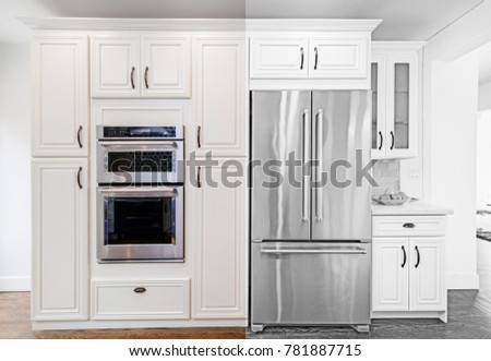 Architectural Drawing of Kitchen with appliances - Illustration  #781887715