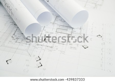 architectural drawing paper rolls of a dwelling for construction #439837333