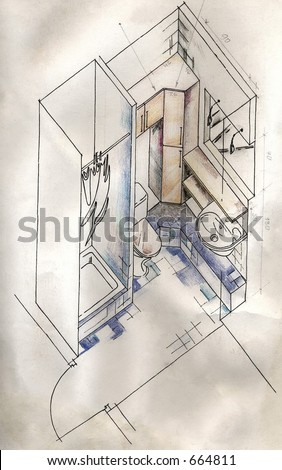 Architectural drawing. Small bathroom. Scan of original design - stock ...
