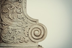 Architectural Elements over stone Baroque ornament decoration of building. vintage filtered