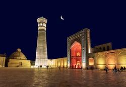 Architectural ensemble(12th century), minaret and mosque. Bukhara, Uzbekistan