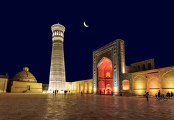 Architectural ensemble(12th century) , minaret and mosque. Bukhara, Uzbekistan