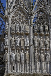 Architectural fragments of Rouen Cathedral (Cathedrale de Notre-Dame, 1202). Rouen in northern France - capital of Upper Normandy (Haute-Normandie) region and historic Normandy capital city. France.