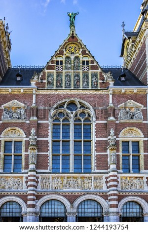 Architectural fragments of the famous Amsterdam Rijksmuseum building  (1885)  Amsterdam Rijksmuseum holds many masterpiece paintings of Dutch and  world