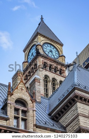 Architectural fragments of Toronto's Old City Hall. Toronto's Old City Hall (1899) was home to its city council from 1899 to 1966 and remains one of city's most prominent structures. Ontario, Canada.