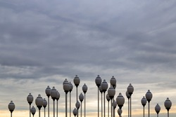 architectural installation composition of lampposts with lamps