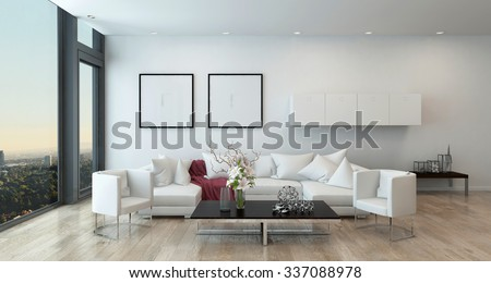 Architectural Interior Of Open Concept Apartment In High Rise Condo Low Coffee Table And White