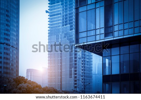 Architectural landscape of commercial building in central town