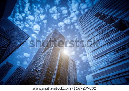Architectural landscape of commercial building in central town #1169299882
