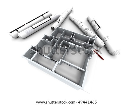 Architectural model of a designer?s house with rolled-up blueprints