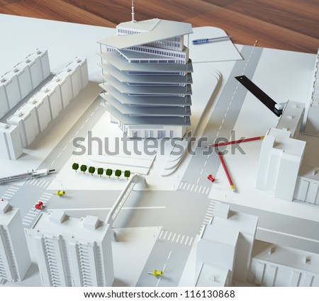 architectural model of a modern building