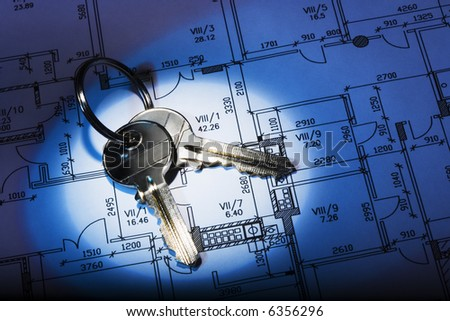 Architectural plan and keys. High contrast. Blue tint.