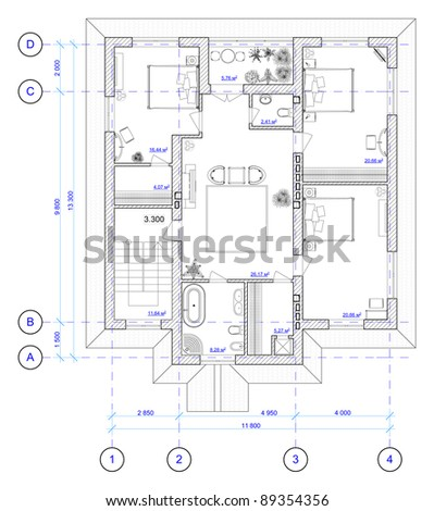 Architectural Plan of 2 floor of house - stock photo