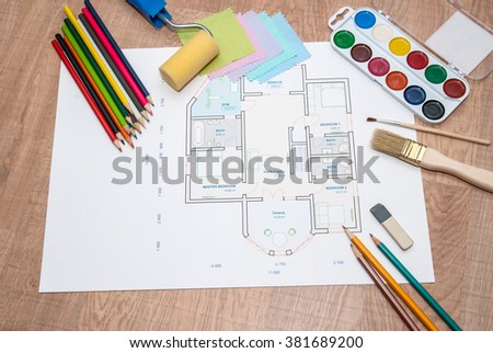 architectural plan of the house with color palette, pencil and fabric samples - Shutterstock ID 381689200