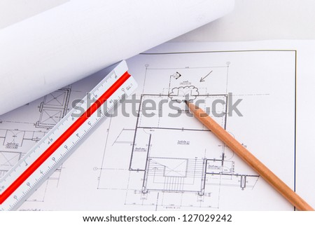 Architectural plan,technical project drawing,Architectur e planning of interiors design on paper,construction plan