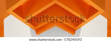 Architectural planes. Reworked photo of interior fragment. Polygonal object resembling decorative architectural panel for ceiling or wall. Abstract image on the subject of modern architecture.