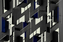 Architectural planes. Reworked photo of windows in shades of metallic gray color with blue inclusions. Abstract modern architecture image in constructivism or cubism style.