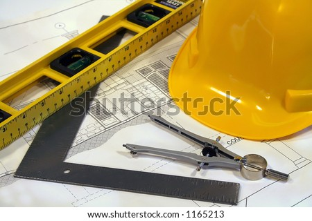 Remodeling Homes on Architectural Plans And Tools For Remodeling A Home Stock Photo