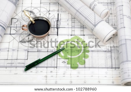 Architectural plans for the roll.Architectural office desk .