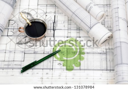 Architectural plans for the roll.Architectural office desk