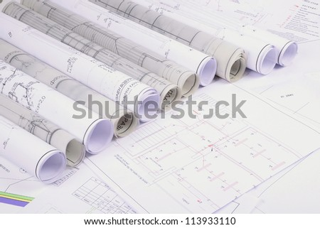 Architectural plans of the old paper ,tracing paper - stock photo