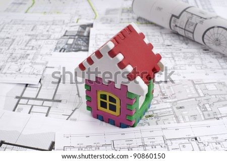 Architectural project and  toy house