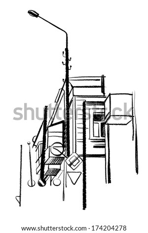 Architectural Sketch Of Black Ink And Pencil On White Paper Plein