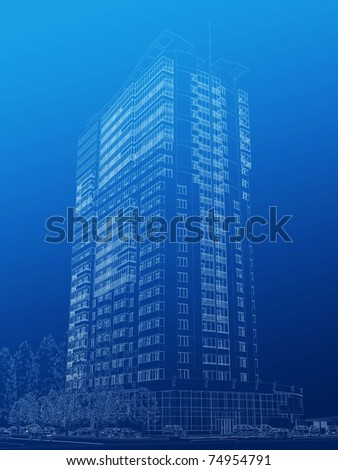 Architectural sketch of high-rise building